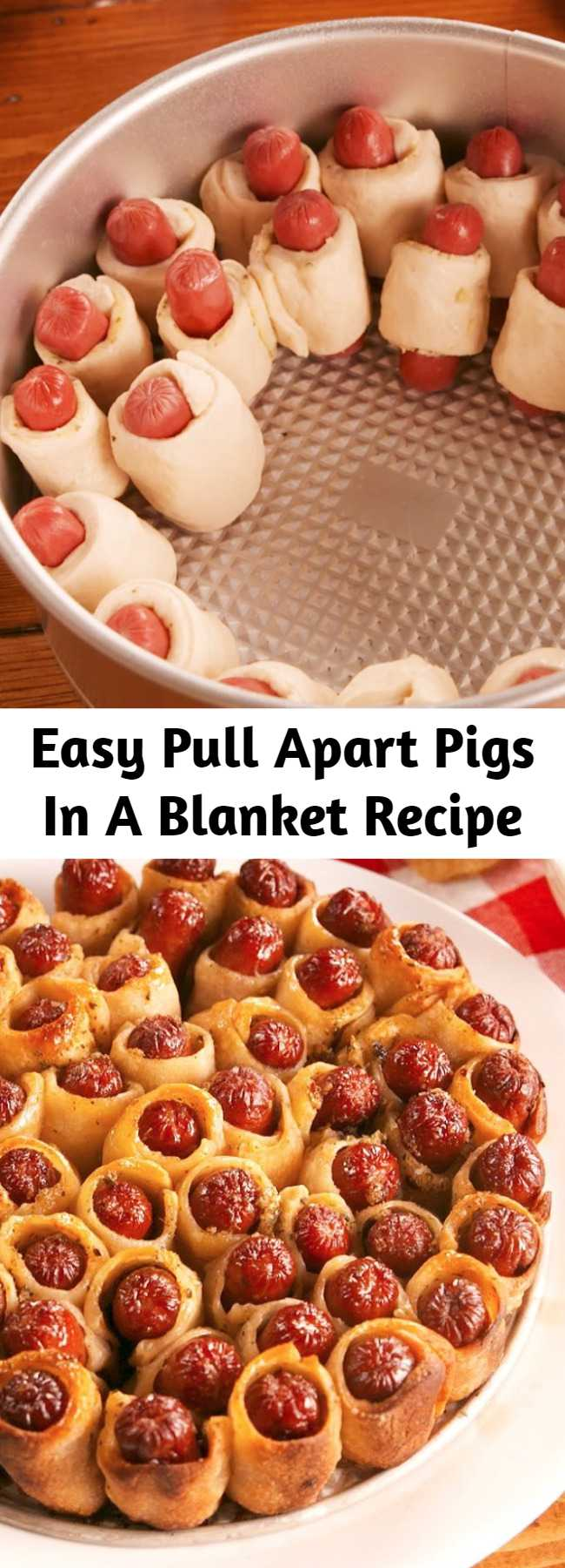 Easy Pull Apart Pigs In A Blanket Recipe - Pull Apart Pigs In A Blanket use the most GENIUS cake pan hack and make the traditional game-day snack so much better! These are positively irresistible. #recipe #easy #easyrecipes #appetizer #party #partyfood #partyideas #appetizers #hotdogs #hacks #lifehacks #baking #bakinghacks