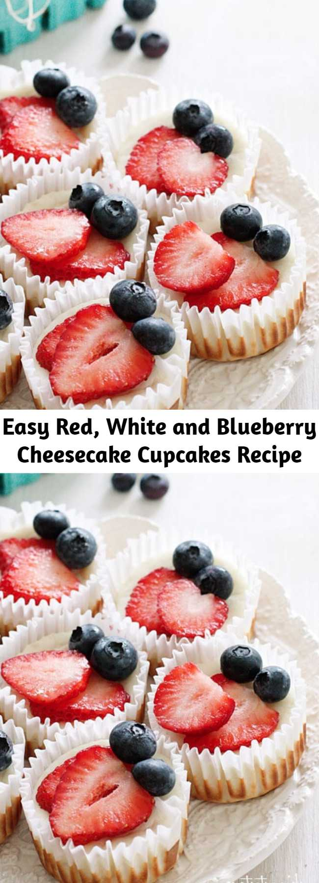 Easy Red, White and Blueberry Cheesecake Cupcakes Recipe - Mini cheesecake cupcakes made with Greek yogurt and cream cheese with a vanilla wafer crust topped with strawberries and blueberries to create a red, white and blue dessert using Mother Nature as my source for food coloring.