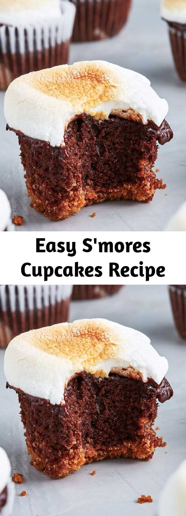 Easy S'mores Cupcakes Recipe - This S'mores Cupcakes recipe will leave you wanting s'more and s'more. S'mores are the best. There's no denying it. And now you can have everything you love about s'mores - buttery graham crackers, melty chocolate, and toasted marshmallow - in a cupcake! It's the best of both worlds!!