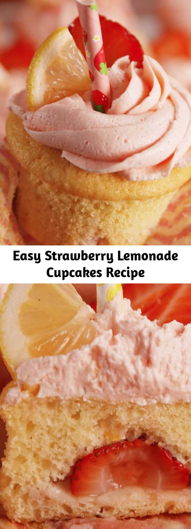 Easy Strawberry Lemonade Cupcakes Recipe - Sweet strawberry and tart lemon are seriously perfect together.