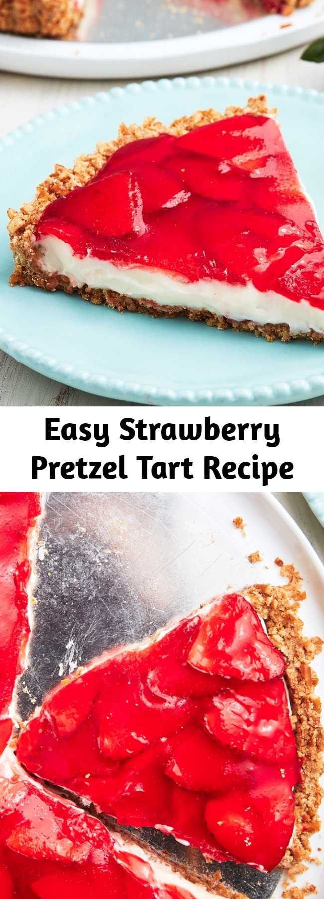 Easy Strawberry Pretzel Tart Recipe - Looking for an easy summer dessert recipe? This Strawberry Pretzel Dessert, also known as Strawberry Pretzel Salad, is the perfect one! A little sweet, a little savory—we're obsessed. Our Strawberry Pretzel Tart is the most bizarrely delicious salty-sweet dessert.