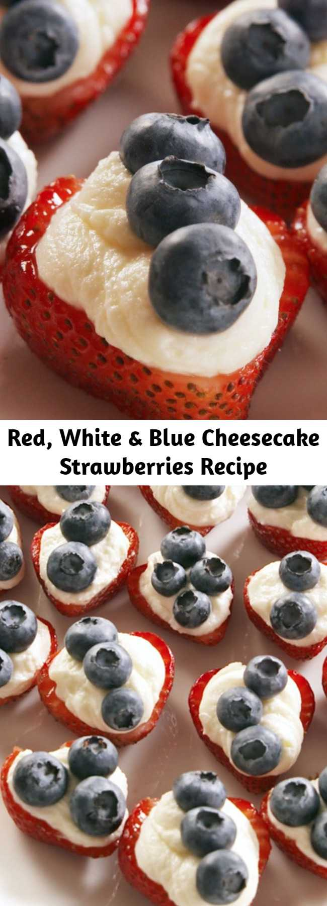Red, White & Blue Cheesecake Strawberries Recipe - When you're looking for an easy July 4th dessert, look no further than these adorable — and, ugh, so addictive — red, white, and blue strawberries. The slightly sweet cheesecake filling is the perfect complement to the berries. They might be better than watching the fireworks.