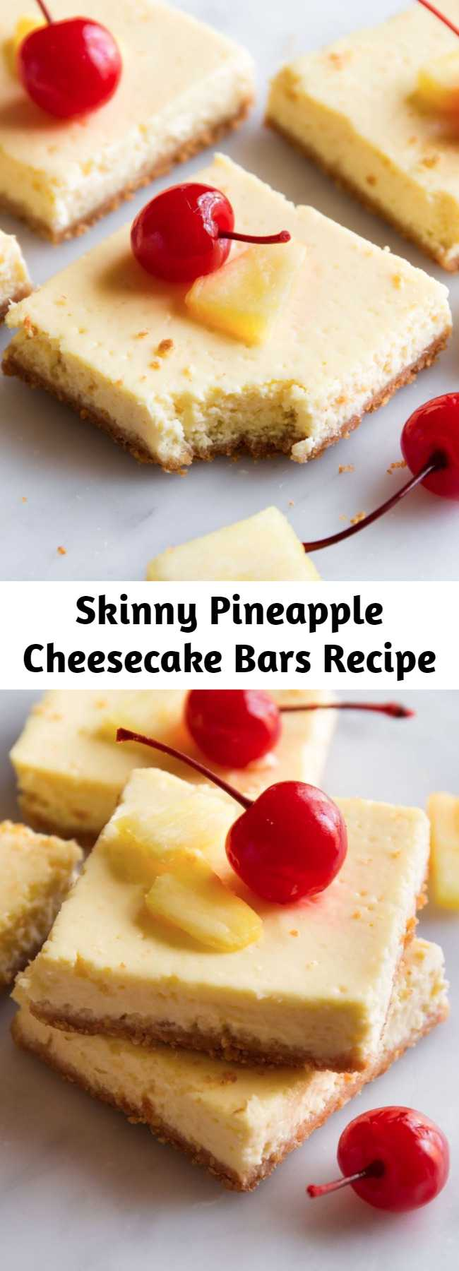 Skinny Pineapple Cheesecake Bars Recipe - The best news we've heard so far this year is that these bars are only 130 calories. Transport yourself to the tropics with these lightened-up cheesecake bars.