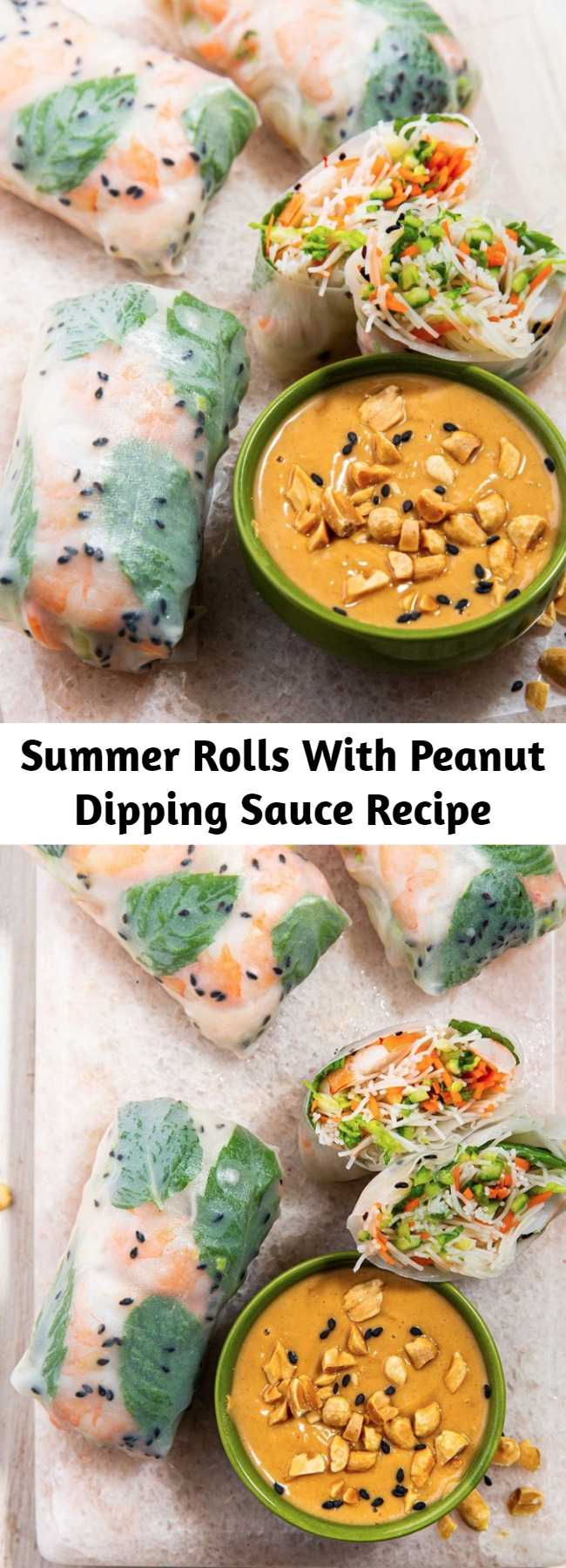 Summer Rolls With Peanut Dipping Sauce Recipe - No need to wait for summer to enjoy these bad boys! Brimming with shrimp, carrot, cucumbers, cabbage, and fresh herbs AND paired with a peanut dipping sauce, these will disappear right away at any party or gathering. They're incredibly refreshing!