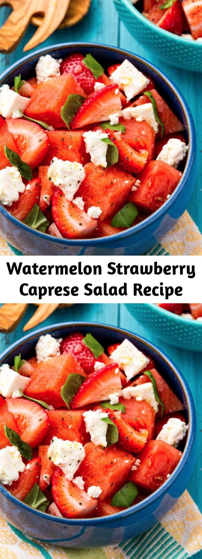 Watermelon Strawberry Caprese Salad Recipe - Switch up your summer salad game with this Watermelon Strawberry Caprese. Your guests are sure to go wild for this one.