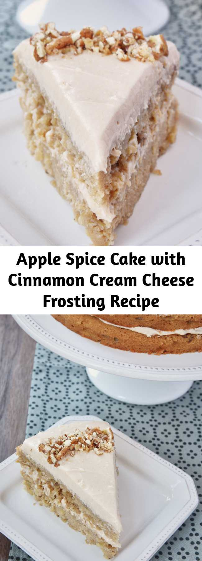 Apple Spice Cake with Cinnamon Cream Cheese Frosting Recipe - Apple Spice Cake with Cinnamon Cream Cheese Frosting is a delicious celebration of all things fall with lots of apples and fall spices.