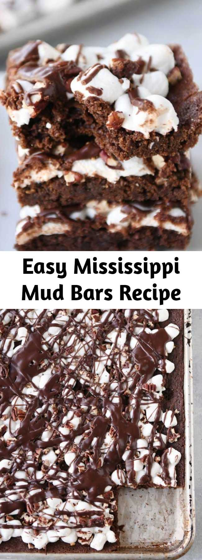 Easy Mississippi Mud Bars Recipe - The brownie + marshmallows + toasted pecans + fudge sauce combo has never been tastier (or easier!). These Mississippi Mud Bars are insanely delicious and so simple to make!