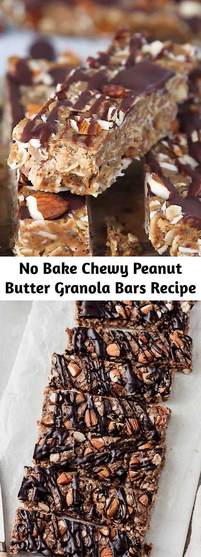 No Bake Chewy Peanut Butter Granola Bars Recipe - No bake peanut butter granola bars packed with wholesome ingredients like chia seeds, flax, almonds, and dark chocolate. These chewy granola bars will be your new favorite grab-and-go snack! #granolabars #nobake #snackrecipe #snackideas #healthysnack #peanutbutter