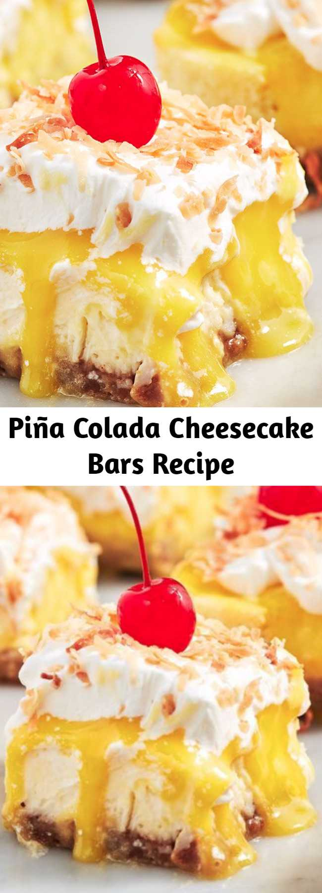 Piña Colada Cheesecake Bars Recipe - The pineapple curd on these bars is TOO good. One bite will transport you to the beach, piña colada in hand. 😎
