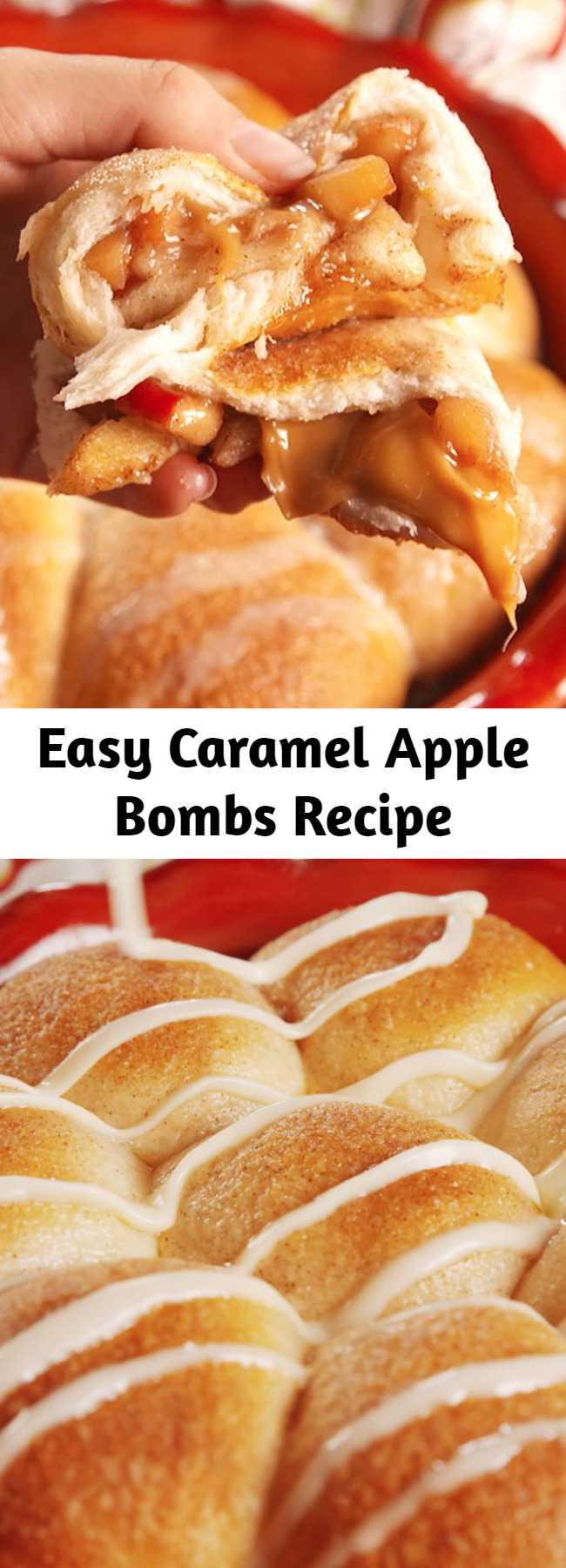 Easy Caramel Apple Bombs Recipe - The best way to get your caramel apple fix. #easy #recipe #caramel #apple #fall #homemade #dessert #stuffed #fallrecipe #food #easyrecipe #apples